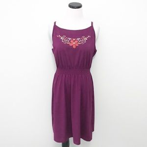 REI Purple floral embroidered Dress Large